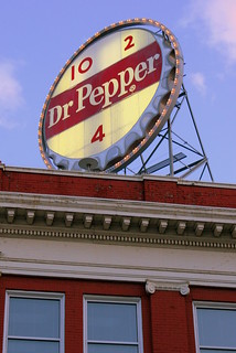 Roanoke's Vintage Dr. Pepper sign at dusk