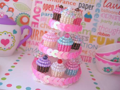 Tiny Beaded Birthday Party Cuppycakes