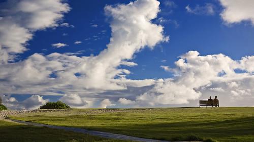 ocean sky beach grass clouds bench hawaii couple oahu kailua platinumphoto