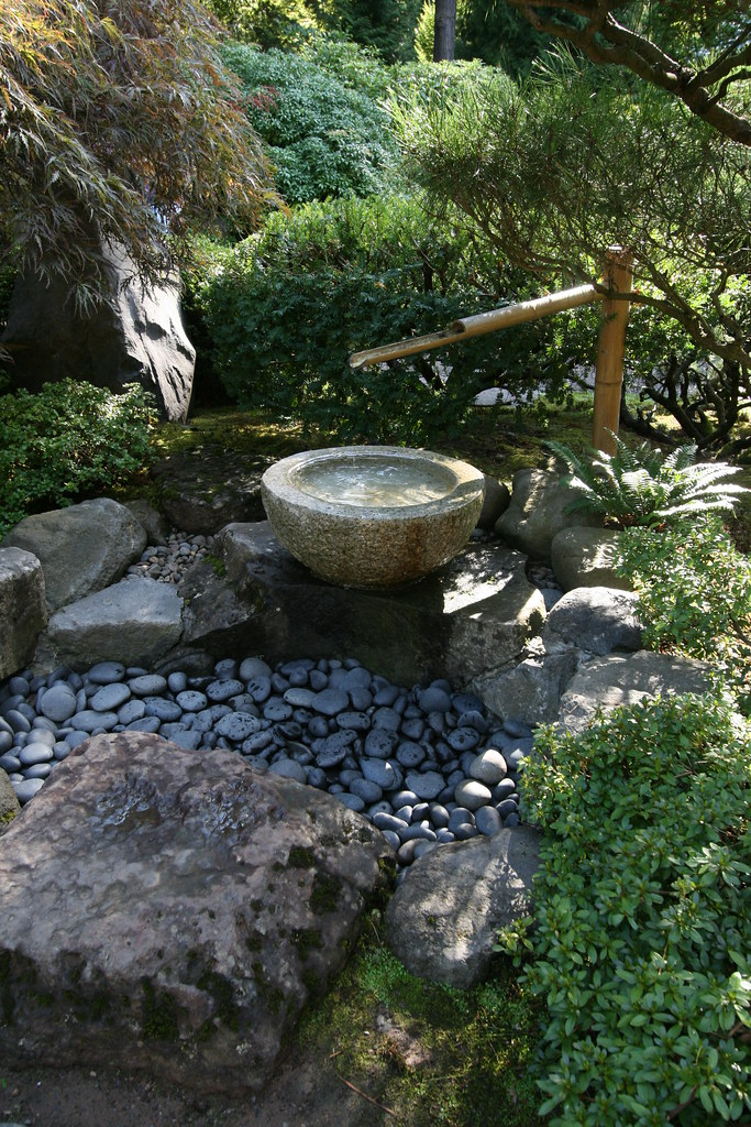 Water Feature At The Japanese Garden In Portland