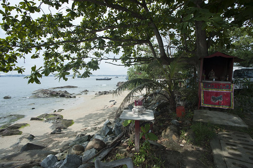 A view of Ubin jetty from the shrine by the shore