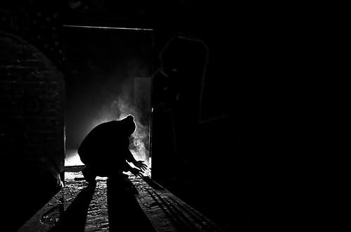 boy portrait blackandwhite bw mist man cold male guy hat silhouette backlight drunk shadows smoke flash homeless emo posing burning breathe rim lowkey strobe flashes rimlight stearm strobist strobism blindfire