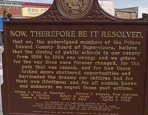 Resolution of apology about closing schools, Prince Edward County, VA