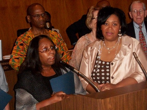 Belva Davis of the Detroit Dominican's Literacy Program receiving an award from City Councilwoman Brenda Jones at the City Council auditorium on June 21, 2011. (Photo: Abayomi Azikiwe) by Pan-African News Wire File Photos