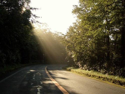 Sunbeam on Curved Road