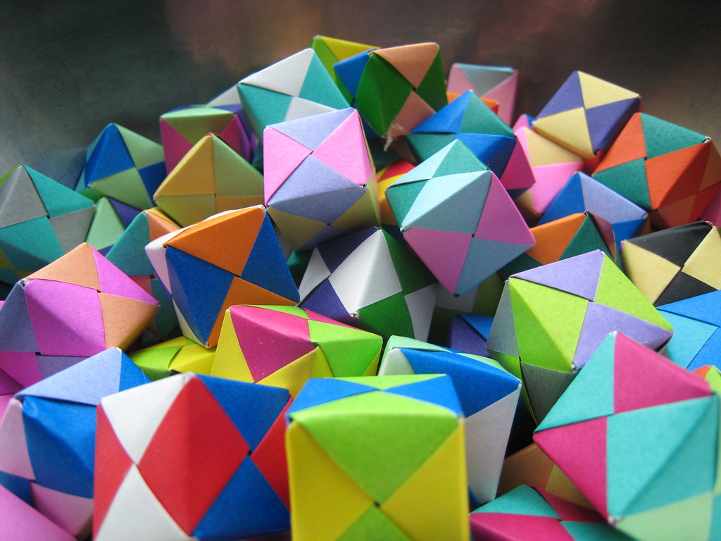 Origami cubes of paper Stock Photo - Alamy | 768x1024