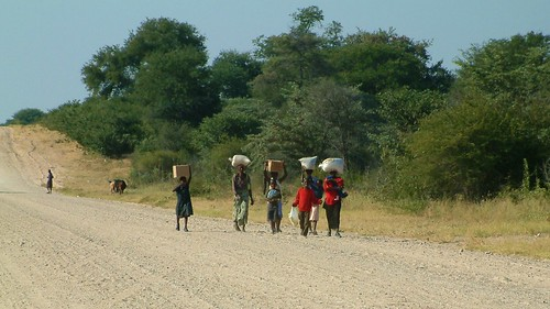 africa road trees grass children women namibia loads carrying caprivi ruthflickr