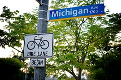 Bike Lane Begin On 17th And Michigan Ave