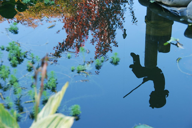 Little girl fishing in my pond....