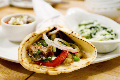 Pork souvlaki, tzatziki, Pita Bread