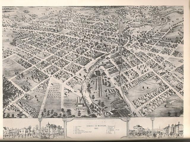 1867 hand drawn map of Flint Michigan Flickr Photo Sharing