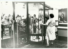 Customers entering new library