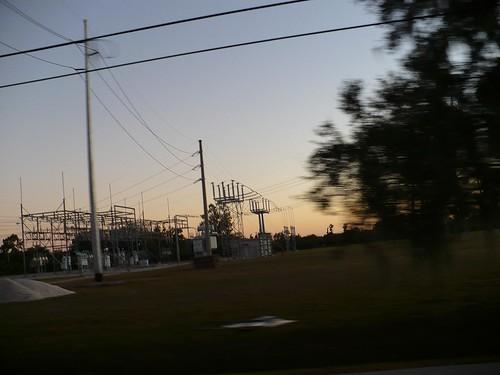 city sunset plant lines power fl