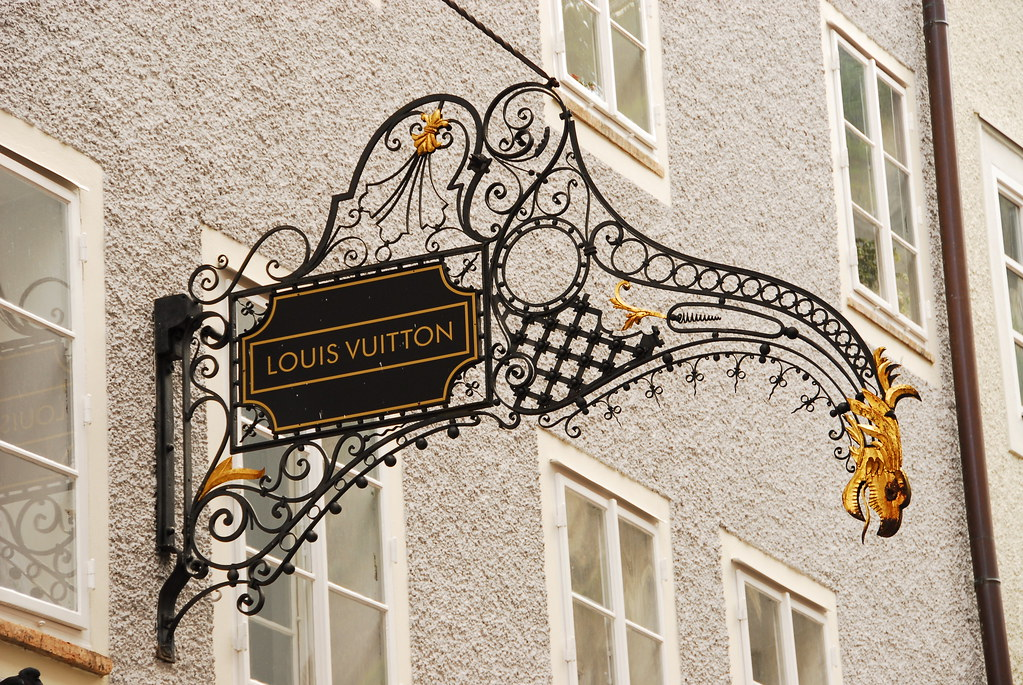 lv wrought iron sign on getreidegasse