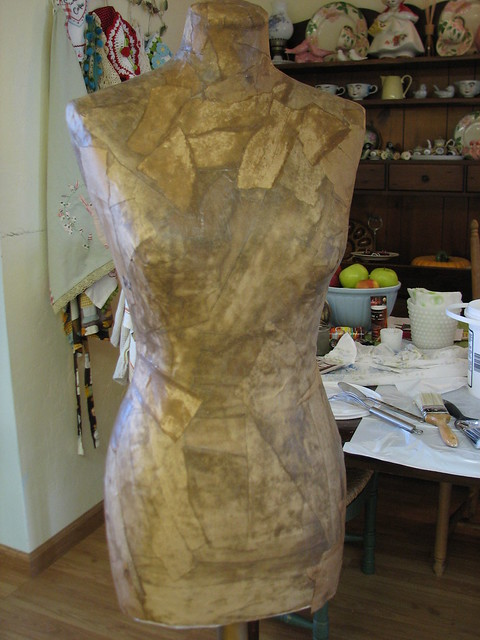 Making a paper mache dress form using my fabric form as a for Homemade papier mache