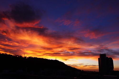 sunset sun canon eos tokina 夕陽 1224mm itri 颱風 工研院 火燒雲 t124 40d goldstaraward 夕燒 77館