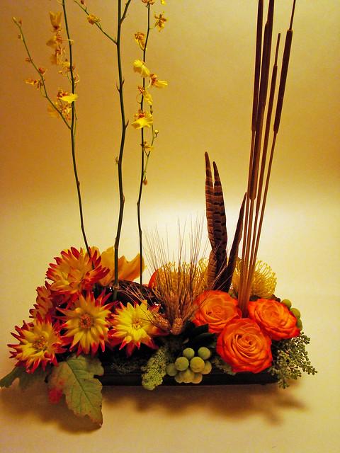 Dsc autumn centerpiece materials used oncidium
