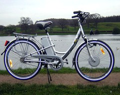 mountain bike(0.0), sports equipment(0.0), hybrid bicycle(0.0), cyclo-cross bicycle(0.0), racing bicycle(0.0), electric bicycle(1.0), road bicycle(1.0), wheel(1.0), vehicle(1.0), land vehicle(1.0), bicycle frame(1.0), bicycle(1.0),