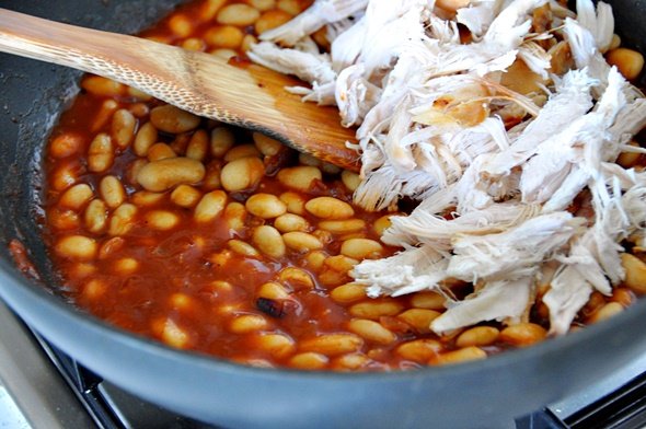Baked Beans with Crispy Potato Croutons & Roast Chicken Recipe | www.fussfreecooking.com