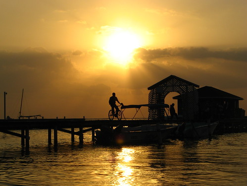 silhouette sunrise cyclist belize ambergriscaye soe watertaxi themessenger anawesomeshot