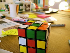 rubik's cube, yellow, mechanical puzzle, toy,