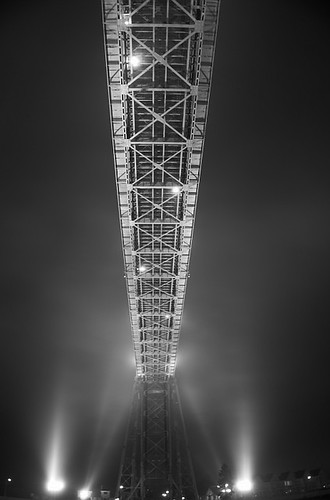 foggy night under the lift bridge.