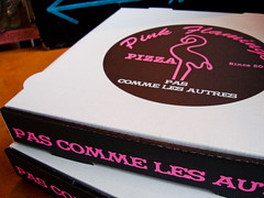 Pink Flamingo pizza boxes