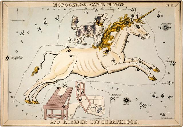 From Urania's Mirror: Monoceros, Canis Minor and Atelier Typographique, 1825