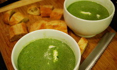 green garlic and spinach soup