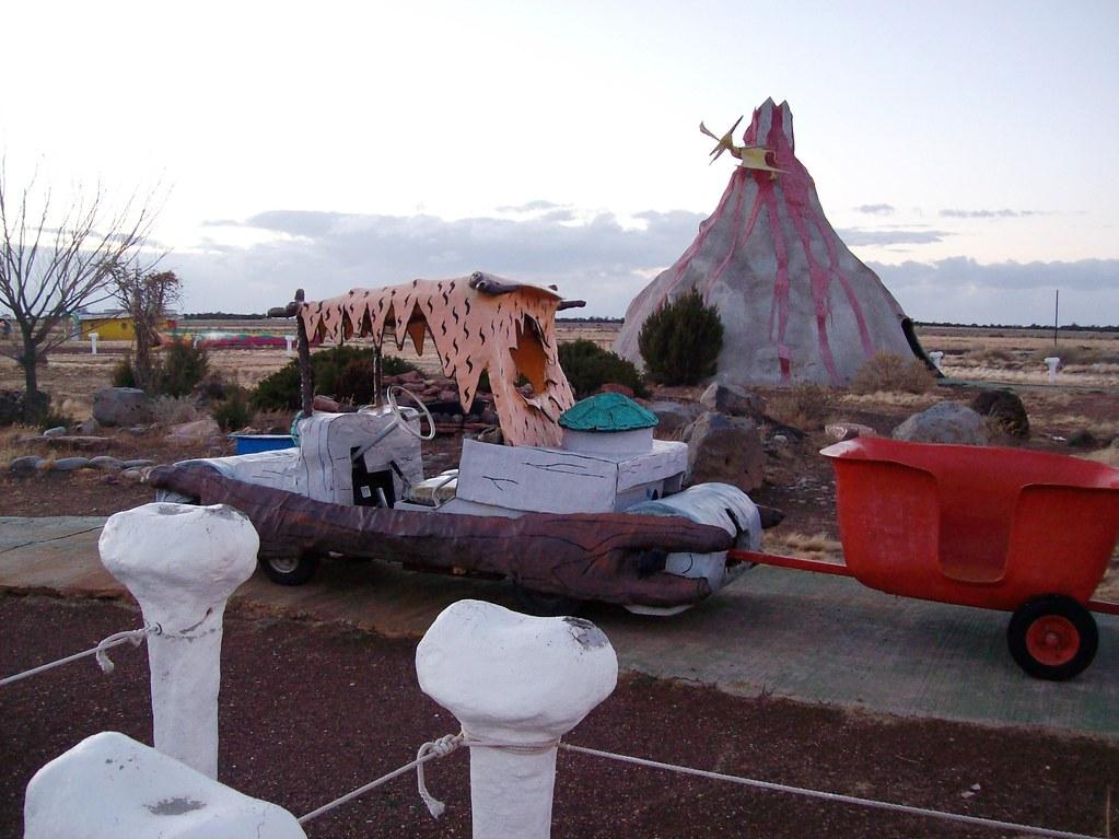 Jump on board for a ride on the Flintstone Express - motorcart ride at Bedrock City, Arizona - bedrock49x
