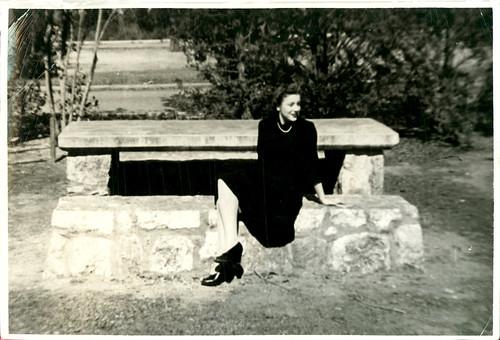 Girl at park bench 02