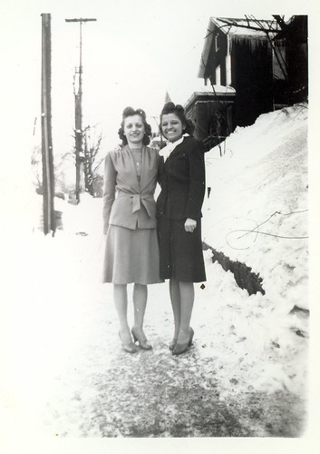Holli and friend on snow covered sidewalk 98