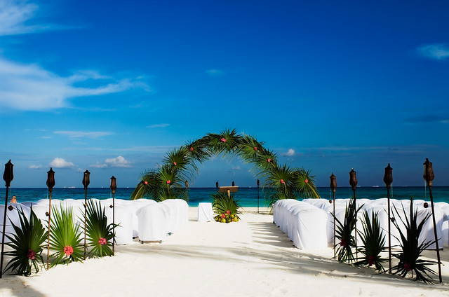 beach from wedding alter and seating