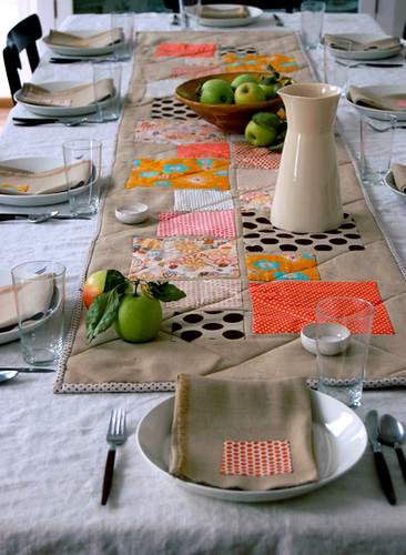 Thanksgiving Table Appliqued Quilted Runner + Fringed Napkins