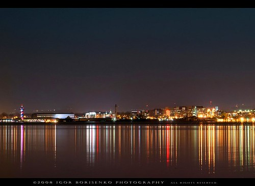 Downtown Erie Pennsylvania Night Reflected