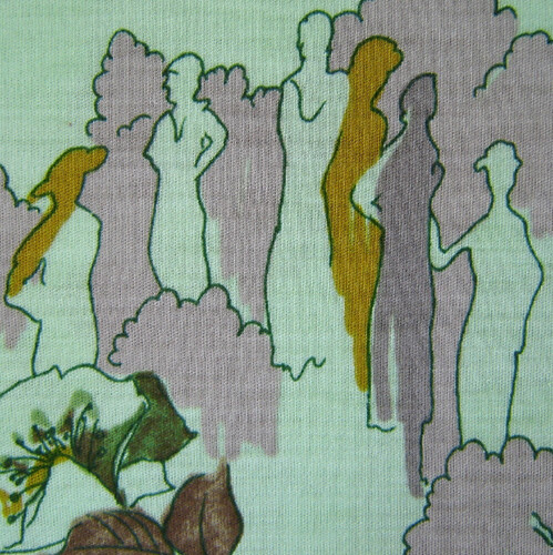 70s Mint Green Garden Party People Fabric