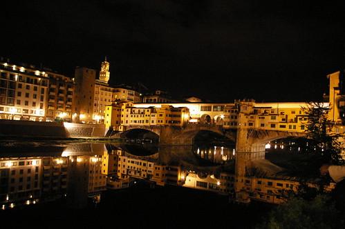 Ponte Vecchio reflection in Arno river - Florence, Italy