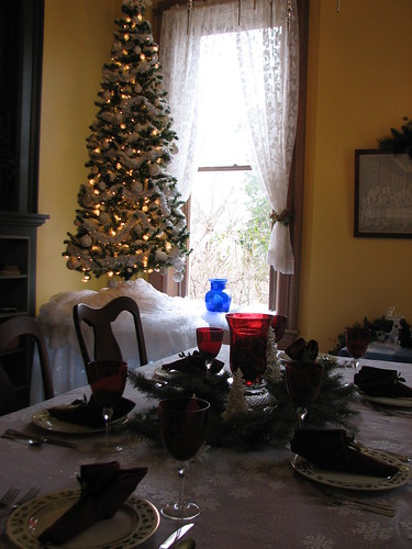 """snow tree"" in the dining room"