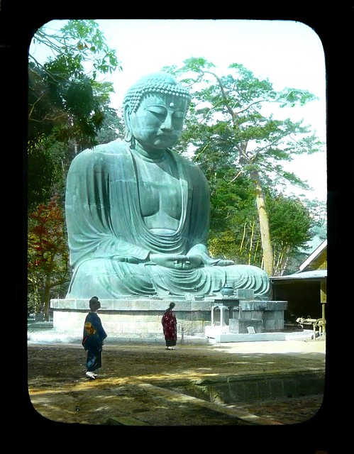 THE GREAT DAIBUTSU AT KAMAKURA #3 OF 3 -- Way Back in 1925 (The Statue's Base has been Newly Repaired after the Damaging Earthquake of 1923)