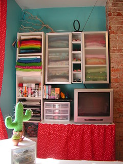 Cloth Stash, Felt Stash, TV Table, Etc. - South Wall
