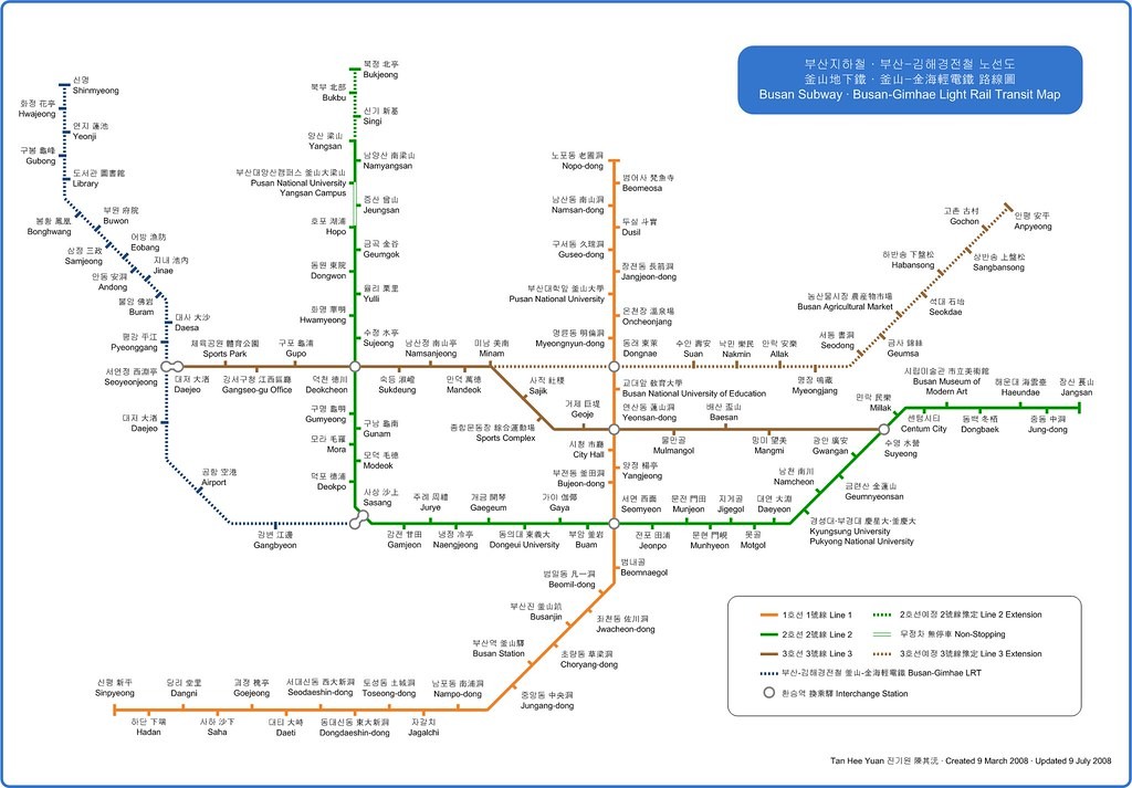 Subway Map Of Busan.Busan Subway Map Busan Subway Map With Korean Hanja And E