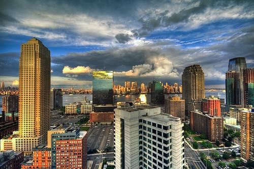 nyc newyorkcity sunset ny newyork skyline landscape geotagged newjersey jerseycity cityscape view worldtradecenter nj esb empirestatebuilding hdr trumpplaza mudpig stevekelley