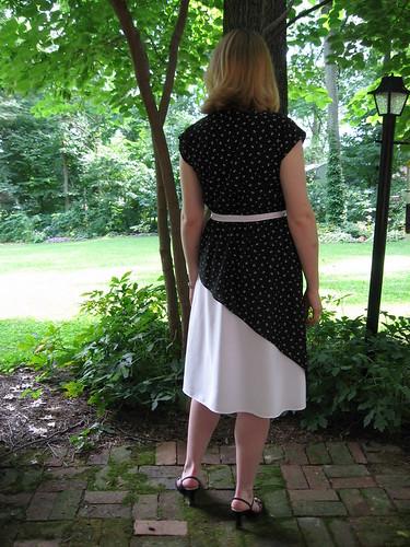 Black and White Asymmetrical Vintage 1970's Dress