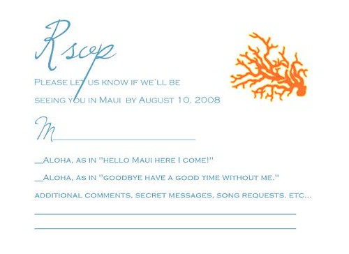 our wedding RSVP card