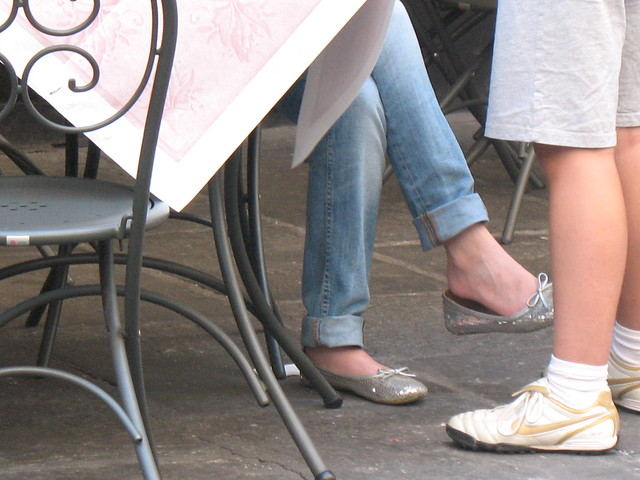 Candid shoeplay feet dangling flats during meeting - 3 part 7