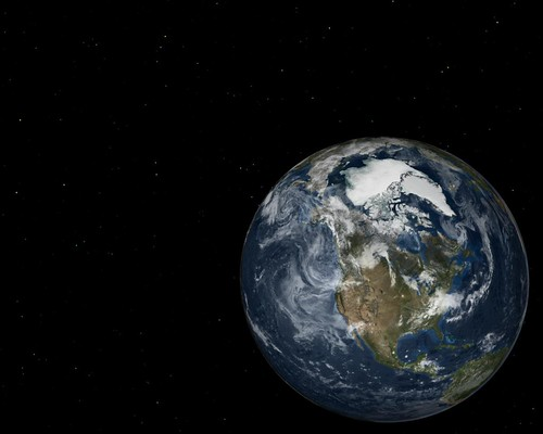 Earth image and star field background