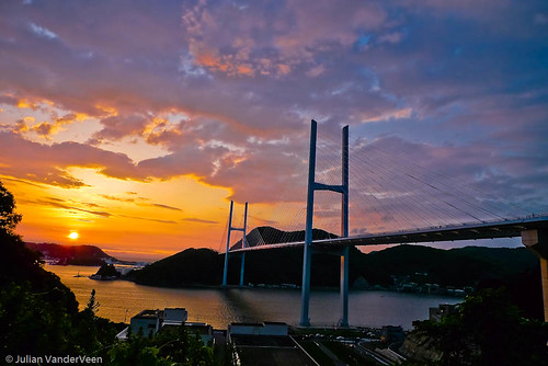 Sunset over Megami Bridge in Nagasaki