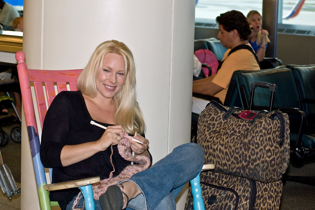 Knitting at Midway Airport