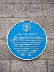 Photo of Mill Hill Chapel, Henry Bowman, Joseph Stretch Crowther, and Joseph Priestley blue plaque