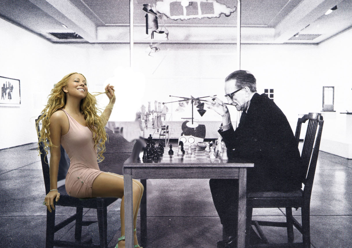Marcel Duchamp and Mariah Carey play chess